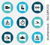 set of 9 fitness icons....