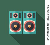 studio music speakers flat... | Shutterstock .eps vector #561190789