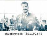 black and white portrait of... | Shutterstock . vector #561192646