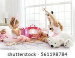 carefree siblings having fun in ... | Shutterstock . vector #561198784