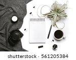 minimal flatlay with open...   Shutterstock . vector #561205384