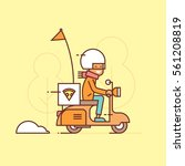delivery guy on scooter ... | Shutterstock .eps vector #561208819