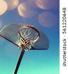 Basketball hoop and net on a colourful background