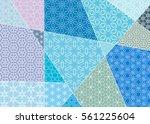 vector patchwork quilt pattern. ...   Shutterstock .eps vector #561225604