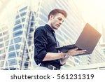 caucasian businessman use of...   Shutterstock . vector #561231319