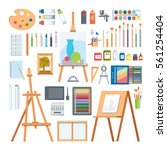art tools flat painting icons... | Shutterstock .eps vector #561254404