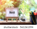 march   concept of canvas stand ... | Shutterstock . vector #561261394
