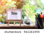 texas   concept of canvas stand ... | Shutterstock . vector #561261454
