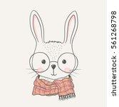 cute rabbit. hand drawn... | Shutterstock .eps vector #561268798