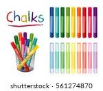 chalk crayons in 18 rainbow...   Shutterstock .eps vector #561274870