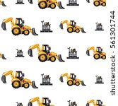 seamless pattern with tractor...   Shutterstock .eps vector #561301744
