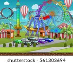 seamless cartoon amusement park ...