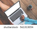 beautiful girl used laptop with ... | Shutterstock . vector #561313054