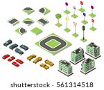 set isometric road and vector... | Shutterstock .eps vector #561314518