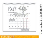 page of wall calendar. fall.... | Shutterstock .eps vector #561318328