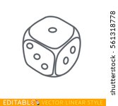 dice. editable line icon. stock ... | Shutterstock .eps vector #561318778