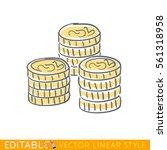 gold coins stack. editable line ... | Shutterstock .eps vector #561318958