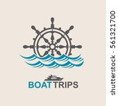 yacht helm wheel image with sea ... | Shutterstock .eps vector #561321700
