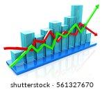 blue bar chart and arrows... | Shutterstock . vector #561327670