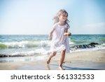 Happy Little Girl Running On...