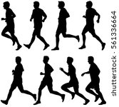 set of silhouettes runners on... | Shutterstock .eps vector #561336664