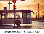 bus moving on the road in city... | Shutterstock . vector #561336730