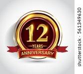 12th golden anniversary logo ...   Shutterstock .eps vector #561349630