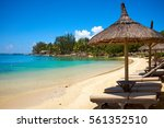 white sand beach with lounge... | Shutterstock . vector #561352510