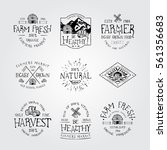 set of badge for farmers market ... | Shutterstock .eps vector #561356683