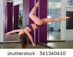 pretty woman dancing in a pole...   Shutterstock . vector #561360610