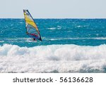 a wind surfer on the ocean | Shutterstock . vector #56136628