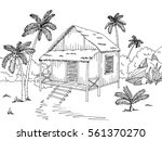 Jungle Hut House Graphic Black...