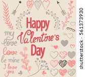 tender floral set of valentine... | Shutterstock .eps vector #561373930