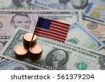 Us Flag Sign And Dollar Cash...
