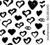 grunge brush hearts seamless... | Shutterstock .eps vector #561381640
