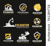 Backhoe Excavator Logo Set