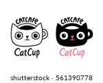 cat cafe logo. adorable funny... | Shutterstock .eps vector #561390778