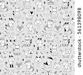 seamless pattern with funny... | Shutterstock .eps vector #561398098