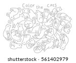 cartoon cats for coloring book | Shutterstock .eps vector #561402979