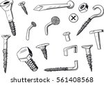 set of of various  doodle drawn ... | Shutterstock .eps vector #561408568