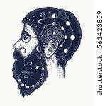 scientist tattoo. symbol of... | Shutterstock .eps vector #561423859