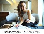 business woman working in... | Shutterstock . vector #561429748
