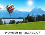scenic summer landscape with... | Shutterstock . vector #561436774