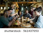 diverse people hang out pub... | Shutterstock . vector #561437053