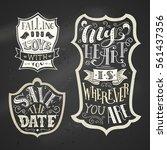 vector set of chalk love badges ... | Shutterstock .eps vector #561437356