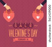 flat style valentines day sale... | Shutterstock .eps vector #561439000
