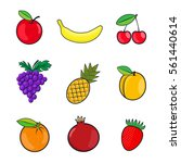 collection fruits icons in flat ... | Shutterstock . vector #561440614