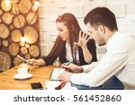 meeting coworkers  angry woman...   Shutterstock . vector #561452860