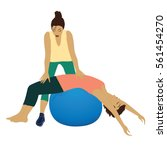 personal trainer woman yoga... | Shutterstock .eps vector #561454270