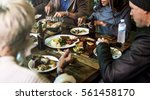 diverse people hang out pub... | Shutterstock . vector #561458170